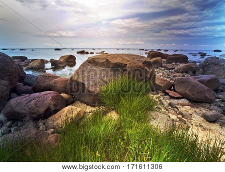Stony coast of the Gulf of Finland. Near St. Petersburg. Russia.