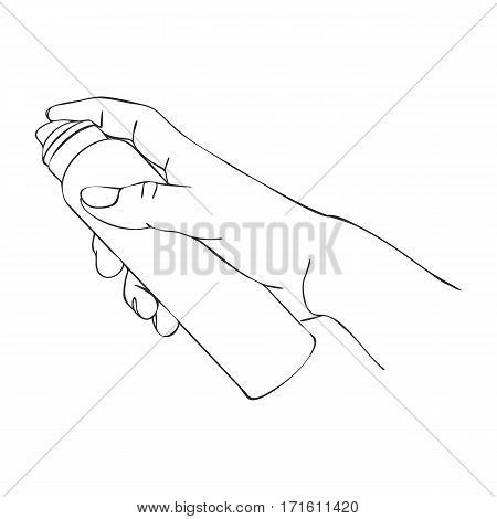 vector hand with cosmetic spray bottle, cream dispenser, line drawing isolated symbol at white background