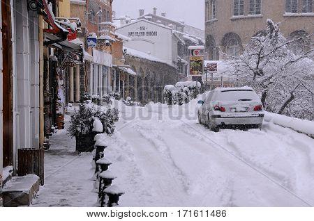 VELIKO TARNOVO BULGARIA - JANUARY 6 2017: Georgi S.Rakovski street in Samovodska Charshia district on the winter day