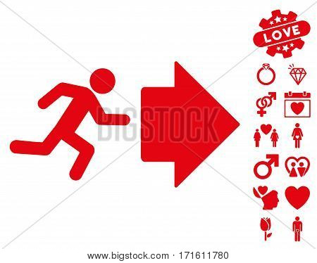 Exit Direction pictograph with bonus decorative pictograph collection. Vector illustration style is flat iconic red symbols on white background.