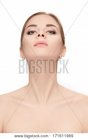 Front portrait of female neck on white background close up. girl with clean and lifted skin
