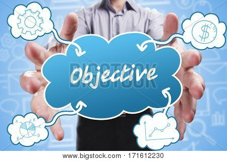 Business, Technology, Internet And Marketing. Young Businessman Thinking About: Objective