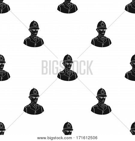 English policeman icon in black style isolated on white background. England country pattern vector illustration.