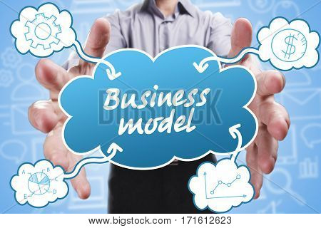 Business, Technology, Internet And Marketing. Young Businessman Thinking About: Business Model