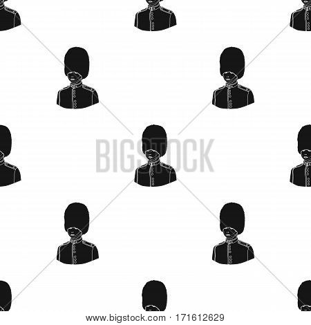 Queen's guard icon in black style isolated on white background. England country pattern vector illustration.