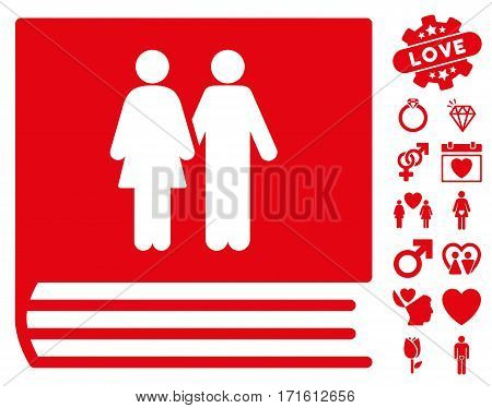 Family Album pictograph with bonus valentine pictograms. Vector illustration style is flat iconic red symbols on white background.