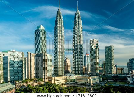 KUALA LUMPUR, MALAYSIA - AUGUST 24: Petronas Twin Towers at night in Kuala Lumpur. Petronas Twin Towers  were the tallest buildings (452 m) in the world from 1998 to 2004.