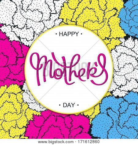 Happy Mother's Day creative carnations backdrop in 80-90s style. Pop-art halftone lettering. Vector cartoon design