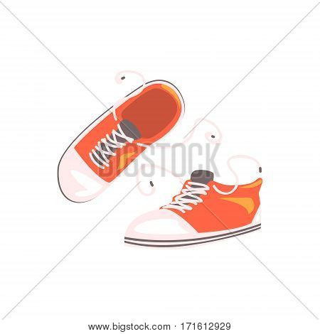 Comfortable Sportive Footwear Pair, Part Of BMX Rider Ammunition And Equipment Set Isolated Object. Cartoon Realistic Sport Related Item Vector Illustration