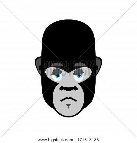 Gorilla Sad Emoji. Monkey Dull Emotion Isolated