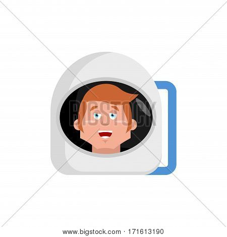 Astronaut Happy Emoji. Cosmonaut Merry Emotion Isolated