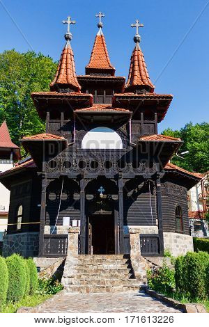 Romanian traditional wood church in Sovata, Transylvania, Romania