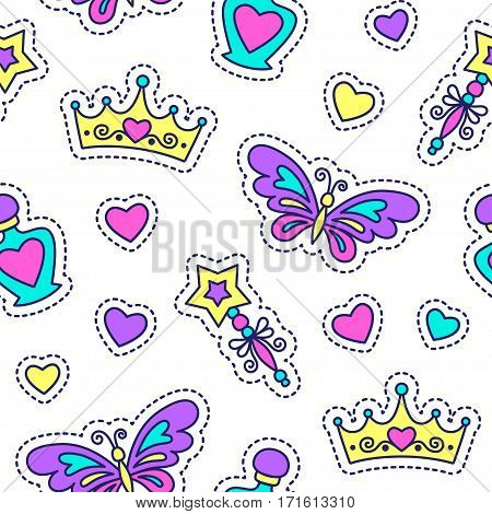 little princess seamless pattern, cute texture for girls