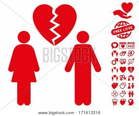 Family Divorce pictograph with bonus valentine images. Vector illustration style is flat iconic red symbols on white background.