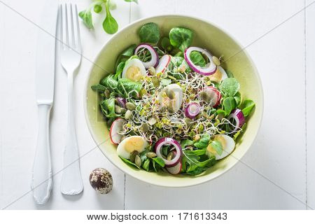 Spring Green Salad With Onion, Quail Egg And Sprouts