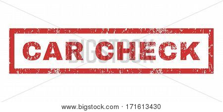 Car Check text rubber seal stamp watermark. Caption inside rectangular banner with grunge design and dirty texture. Horizontal vector red ink sign on a white background.