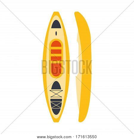 Yellow Plastic Kayak From Two Perspectives, Part Of Boat And Water Sports Series Of Simple Flat Vector Illustrations. River Boating Sportive Equipment Piece Isolated Item On White Background.