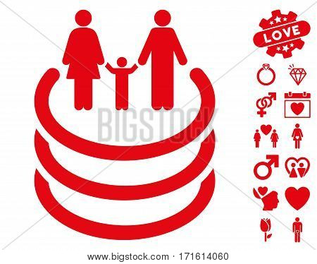 Family Portal icon with bonus passion pictograms. Vector illustration style is flat iconic red symbols on white background.