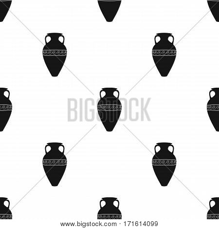 Greece amphora icon in black style isolated on white background. Greece pattern vector illustration.