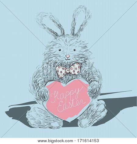 Happy Easter greeting card with hand-written lettering and cute fury rabbit with bow-tie, bunny. Vector illustration.