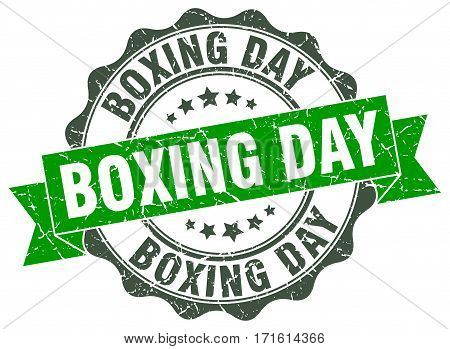 boxing day. stamp. sign. seal. round. retro. ribbon
