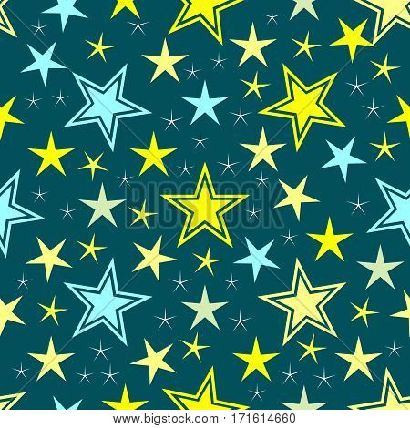 Abstract star background. Modern stylish ornament stars texture. Different shapes. Can be used for wraping paper, pattern fills, web page background, textile. Vector illustration