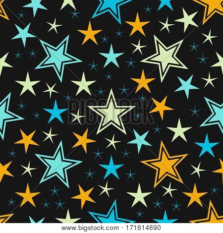 Abstract star seamless pattern background. Modern stylish ornament stars texture. Different shapes. Can be used for pattern fills, web page background, textile. Vector illustration