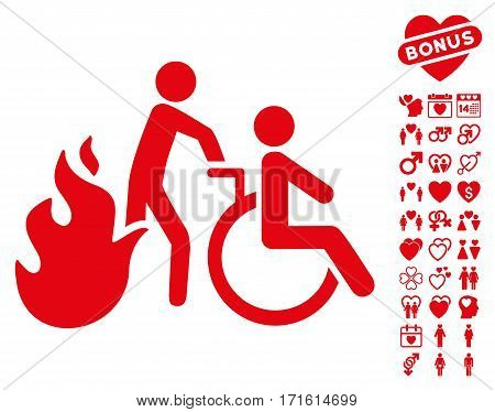 Fire Patient Evacuation pictograph with bonus valentine icon set. Vector illustration style is flat iconic red symbols on white background.