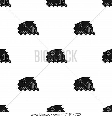 Sailing boat on the sea icon in black style isolated on white background. Greece pattern vector illustration.