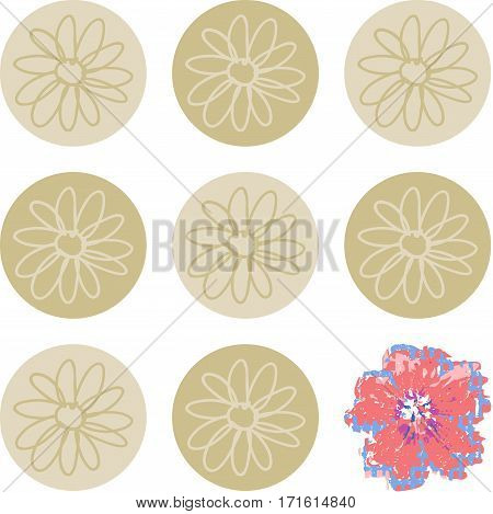 Scalable vectorial image representing a set of circles with flowers same and last different, isolated on white.