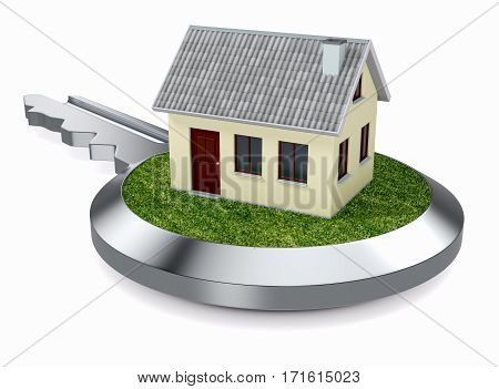 steel key with grass and a small house concept of real estate (3d render)
