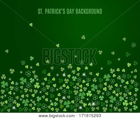 Sparkling clover shamrock leaves isolated on dark green background. Abstract St. Patrick's day background for your greeting cards design or poster. Vector illustration