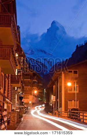 Matterhorn Peak with Light trail from Zermatt City, Swizerland
