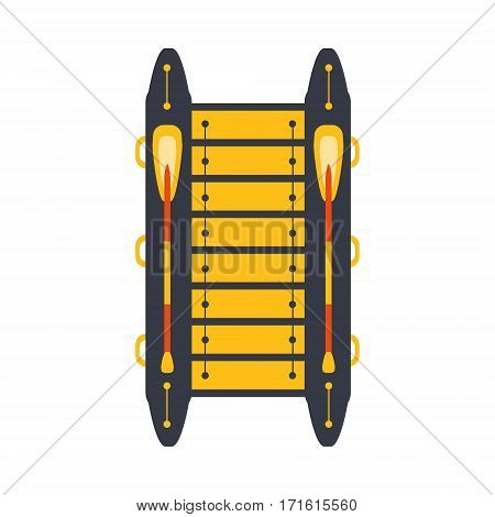 Grey And Yellow Catamaran With Two Peddles, Part Of Boat And Water Sports Series Of Simple Flat Vector Illustrations. River Boating Sportive Equipment Piece Isolated Item On White Background.