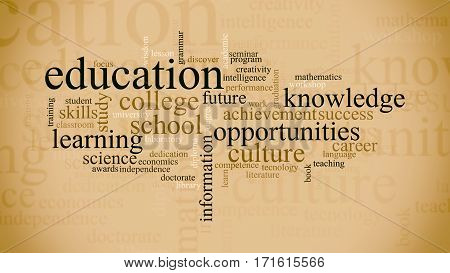 word cloud with terms about education flat style