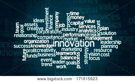 word cloud with terms about modern business flat style