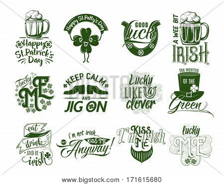 Vector illustration of happy Patrick day logo set. Hipster emblem quote text design with green hat emoji clover mug of beer orange beard shoe lips. Use for banners greeting cards gifts poster
