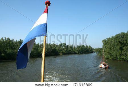 Dutch Flag In The Biesbosch National Park,
