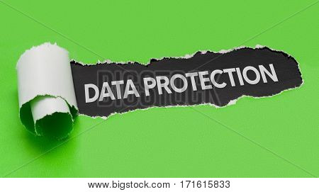 Torn green paper revealing the word Data Protection