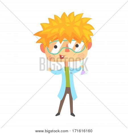 Boy Chemist, Kids Future Dream Professional Occupation Illustration. Smiling Child Carton Character With Career Attributes Cute Vector Drawing.