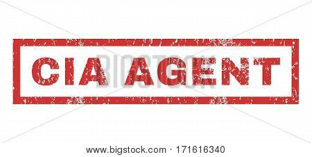 CIA Agent text rubber seal stamp watermark. Tag inside rectangular shape with grunge design and unclean texture. Horizontal vector red ink sign on a white background.
