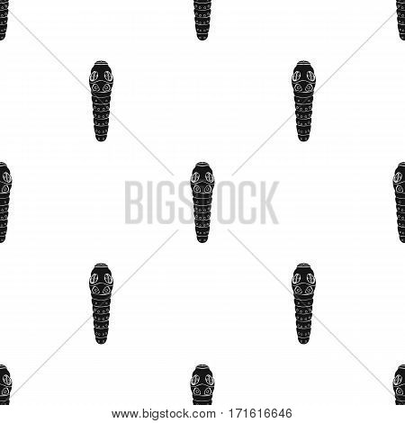 Caterpillar icon in black design isolated on white background. Insects pattern stock vector illustration.