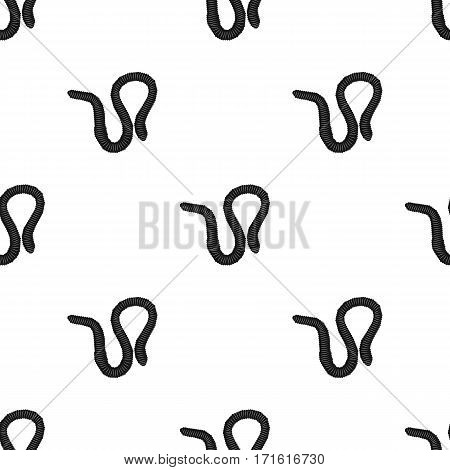 Earthworm icon in black design isolated on white background. Insects pattern stock vector illustration.