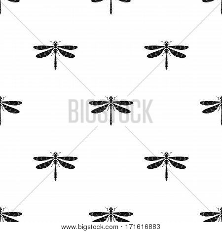 Dragonfly icon in black design isolated on white background. Insects pattern stock vector illustration.