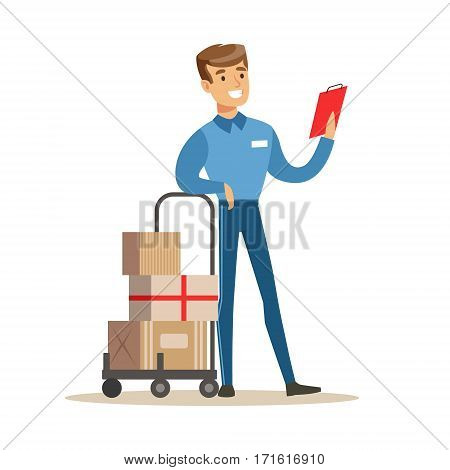 Delivery Service Worker Checking His Clipboard Leaning On Cart, Smiling Courier Delivering Packages Illustration. Vector Cartoon Character In Uniform Carrying Packed Objects With A Smile.