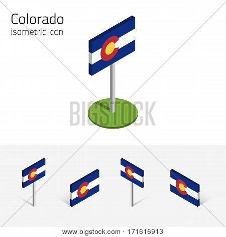 Flag of Colorado (State of Colorado, USA), vector set of isometric flat icons, 3D style, different views. Editable design element for banner, website, presentation, infographic, poster, map, collage