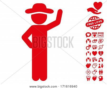 Gentleman Assurance pictograph with bonus amour graphic icons. Vector illustration style is flat iconic red symbols on white background.