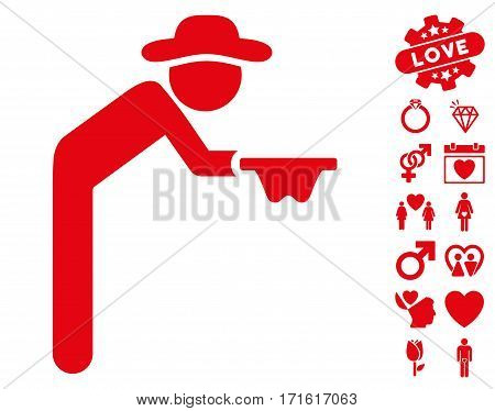 Gentleman Beggar pictograph with bonus passion pictures. Vector illustration style is flat iconic red symbols on white background.