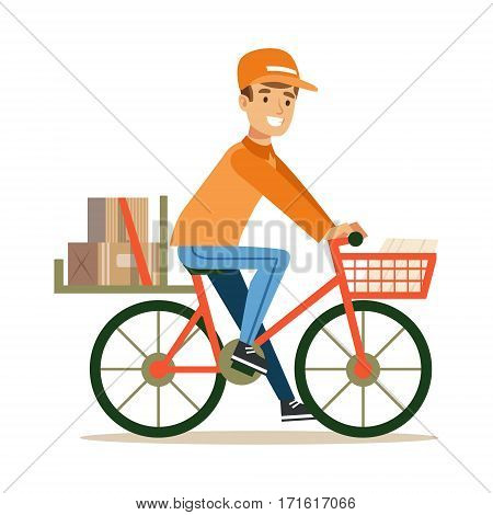 Delivery Service Worker Delivering Boxes With Bycicle, Smiling Courier Delivering Packages Illustration. Vector Cartoon Male Character In Uniform Carrying Packed Objects With A Smile.