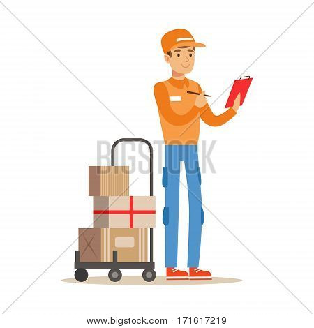 Delivery Service Worker Crossing Out Address From Check List, Smiling Courier Delivering Packages Illustration. Vector Cartoon Male Character In Uniform Carrying Packed Objects With A Smile.